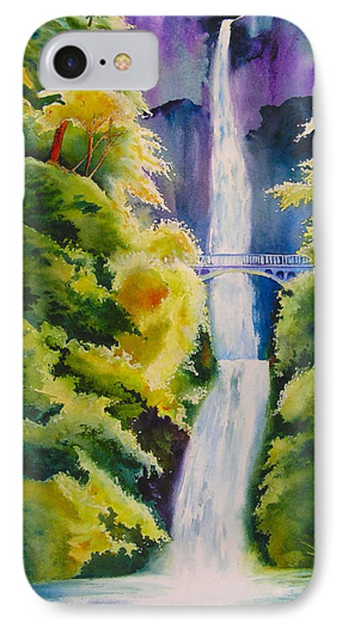 Waterfall IPhone 7 Case featuring the painting A Favorite Place by Karen Stark