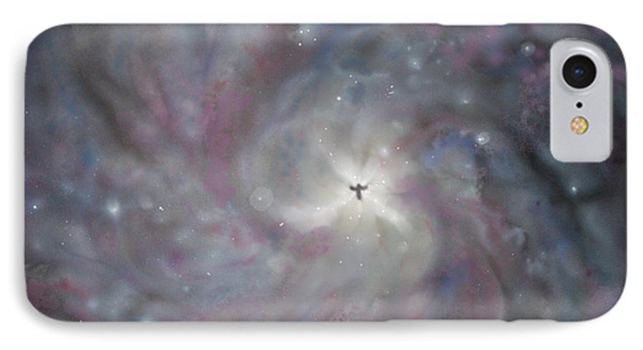 Space IPhone 7 Case featuring the painting A Galaxy Centre by Mike Moss