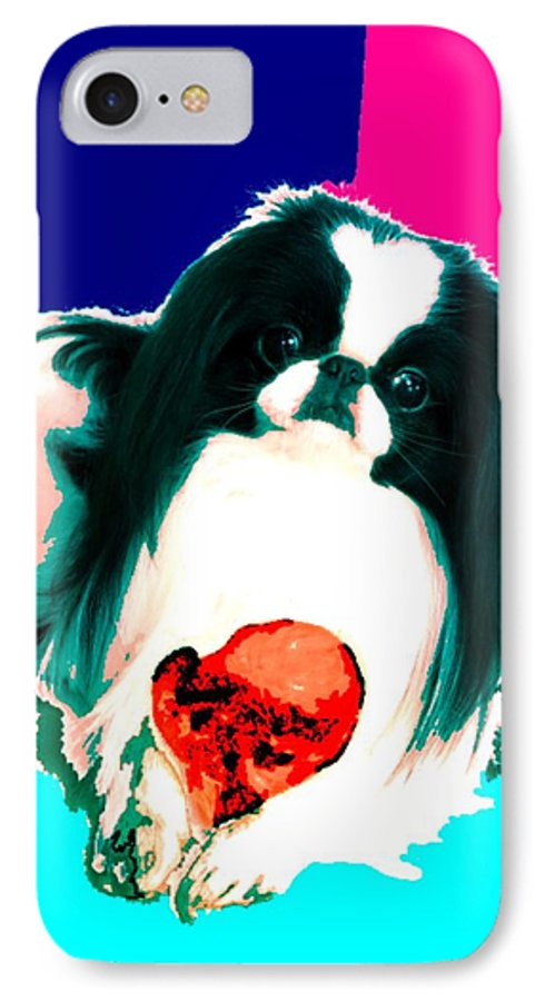 A Japanese Chin And His Toy IPhone 7 Case featuring the digital art A Japanese Chin And His Toy by Kathleen Sepulveda