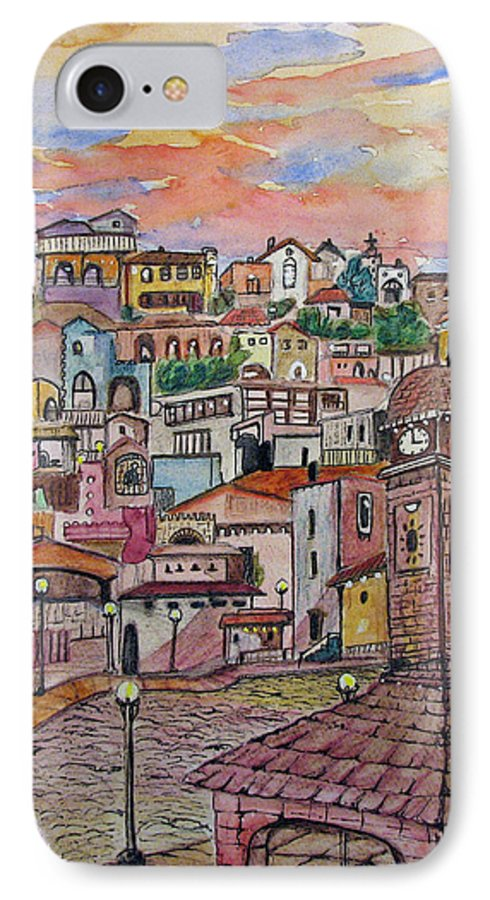 Townscape IPhone 7 Case featuring the painting A Little Town In France by Patricia Arroyo