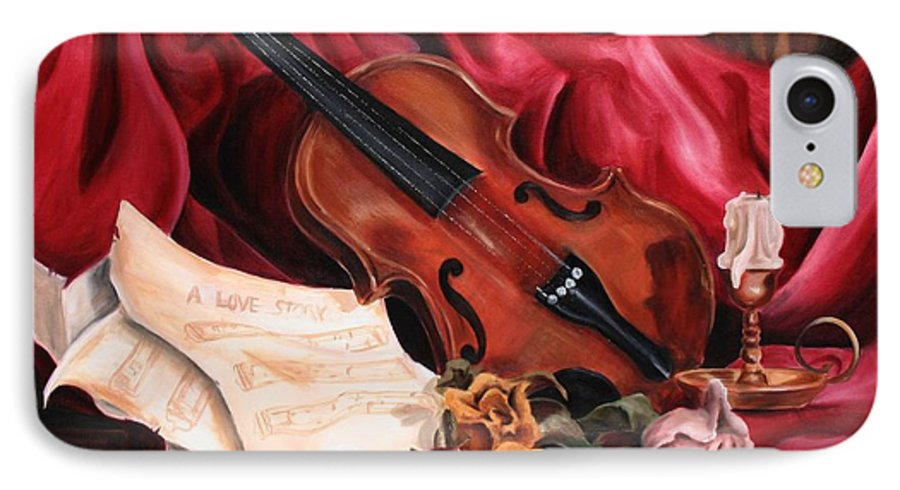 Violin IPhone 7 Case featuring the painting A Love Story by Maryn Crawford