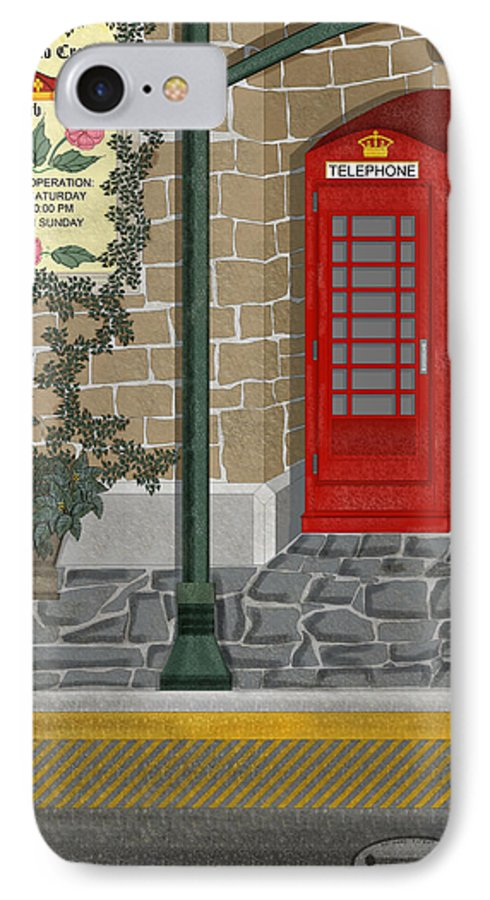 Cityscape IPhone 7 Case featuring the painting A Merry Old Corner In London by Anne Norskog