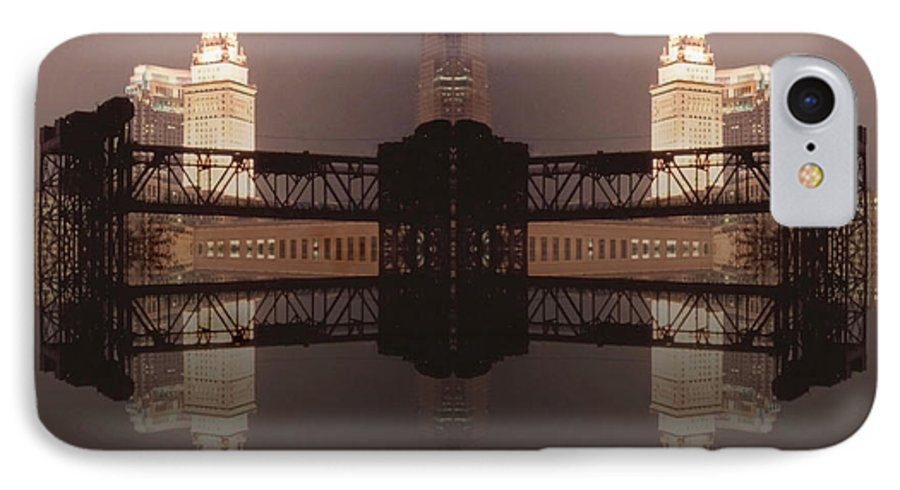 Cleveland IPhone 7 Case featuring the photograph A Mirror Image Reflection by Kenneth Krolikowski
