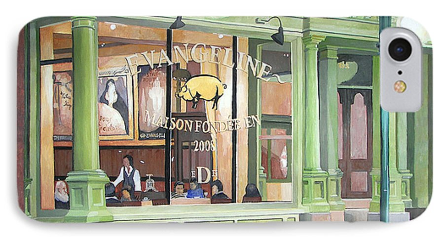 Restaurant IPhone 7 Case featuring the painting A Night At Evangeline by Dominic White
