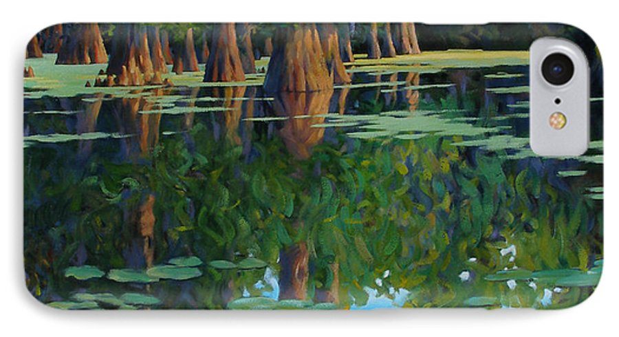 Swamp IPhone 7 Case featuring the painting A Patch Of Blue by Kevin Lawrence Leveque