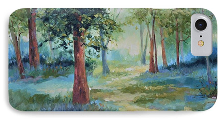 Trees IPhone 7 Case featuring the painting A Path Not Taken by Ginger Concepcion