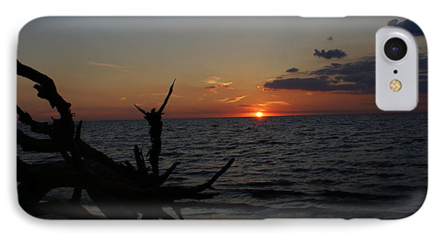 Sunset IPhone 7 Case featuring the painting A Prayer For Benazir Bhutto by Debbie May