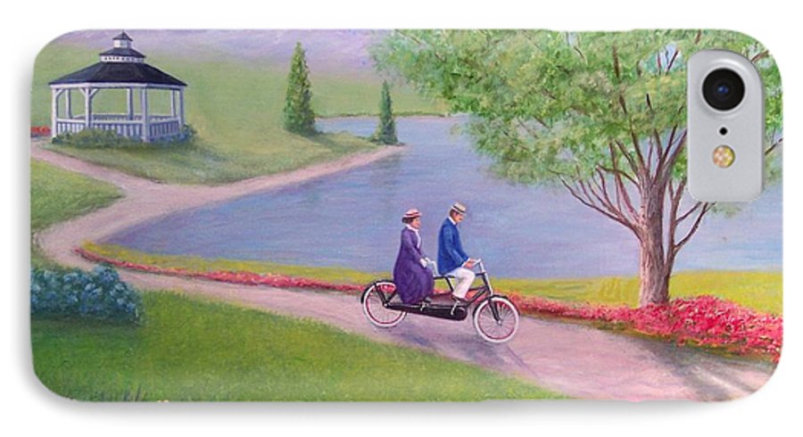 Landscape IPhone 7 Case featuring the painting A Ride In The Park by William H RaVell III