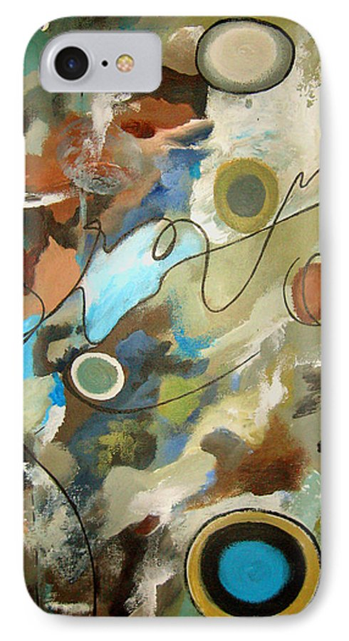 Abstract IPhone 7 Case featuring the painting A Rolling Stone Gathers No Moss by Ruth Palmer