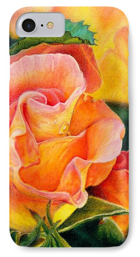 Coloured Pencil IPhone 7 Case featuring the painting A Rose For Nan by Amanda Jensen