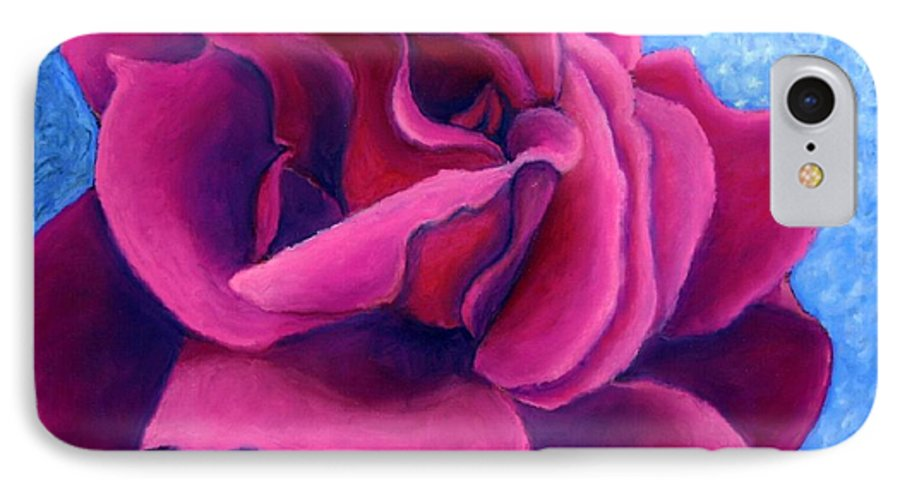 Rose. Pink Rose IPhone 7 Case featuring the painting A Rose Is A Rose.. by Minaz Jantz