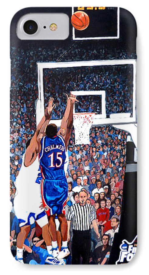 Jayhawks IPhone 7 Case featuring the painting A Shot To Remember - 2008 National Champions by Tom Roderick
