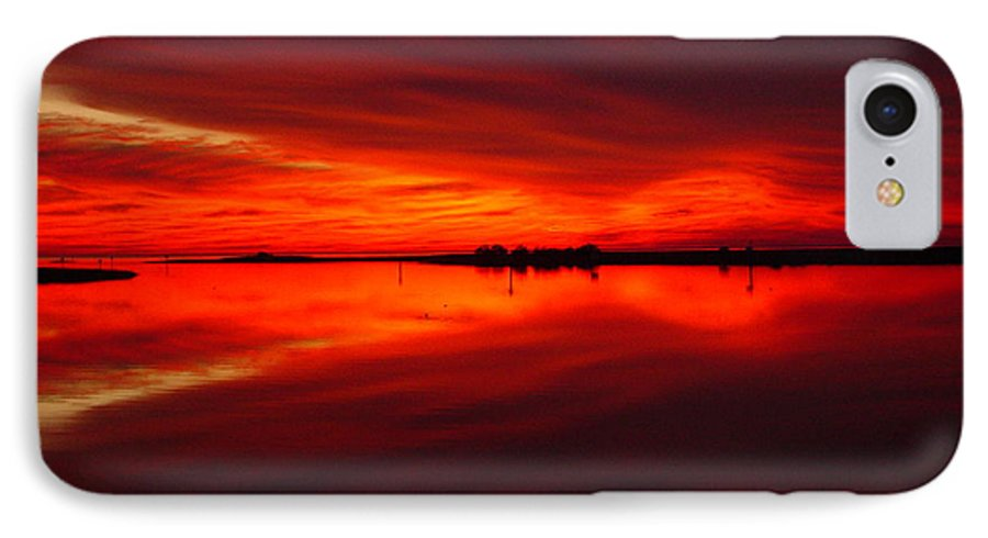 Sunset IPhone 7 Case featuring the photograph A Sunset Kiss -debbie-may by Debbie May