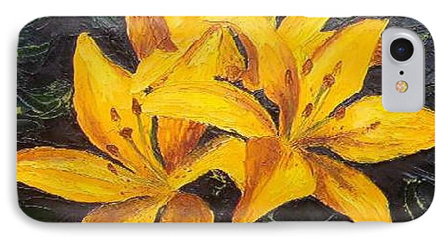 IPhone 7 Case featuring the painting A Touch Of Gold by Tami Booher