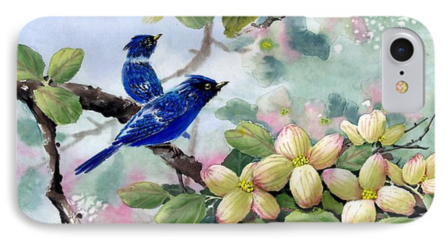 Blue Jays IPhone 7 Case featuring the painting A Touch Of Pink On White by Eileen Fong