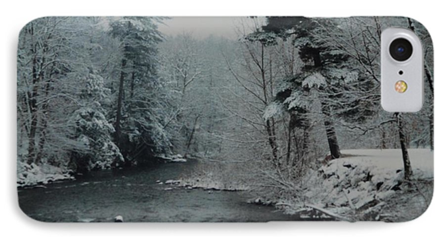 B&w IPhone 7 Case featuring the photograph A Winter Waterland by Rob Hans