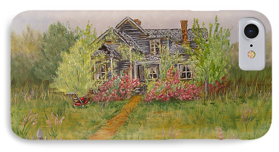 Landscape IPhone 7 Case featuring the painting Abandoned House by Quwatha Valentine