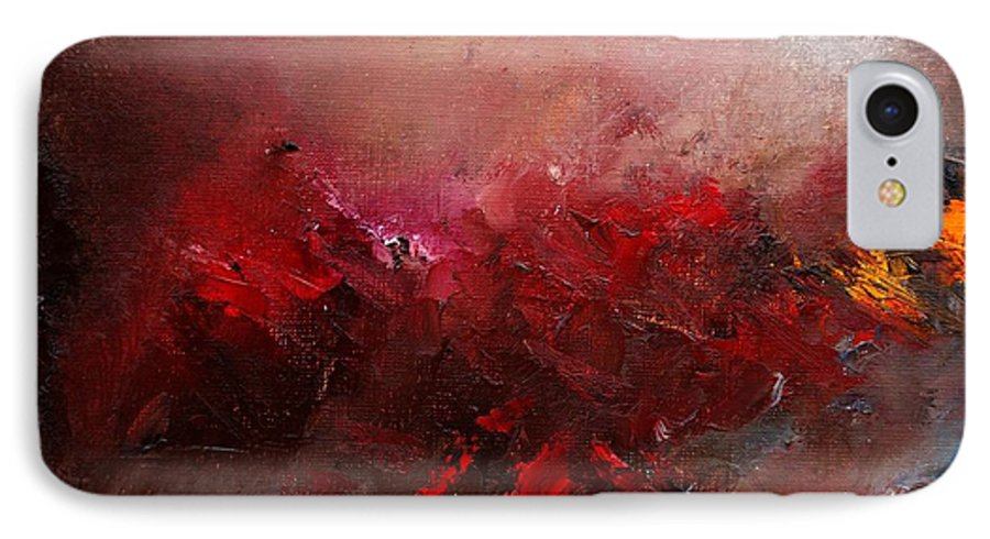 Abstract IPhone 7 Case featuring the painting Abstract 056 by Pol Ledent