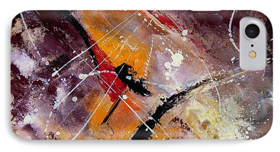 Abstract IPhone 7 Case featuring the painting Abstract 45 by Pol Ledent