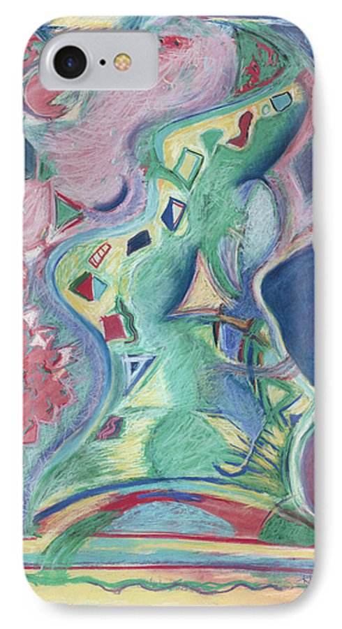 Abstract IPhone 7 Case featuring the painting Abstract 92 - Inner Landscape by Kerryn Madsen- Pietsch