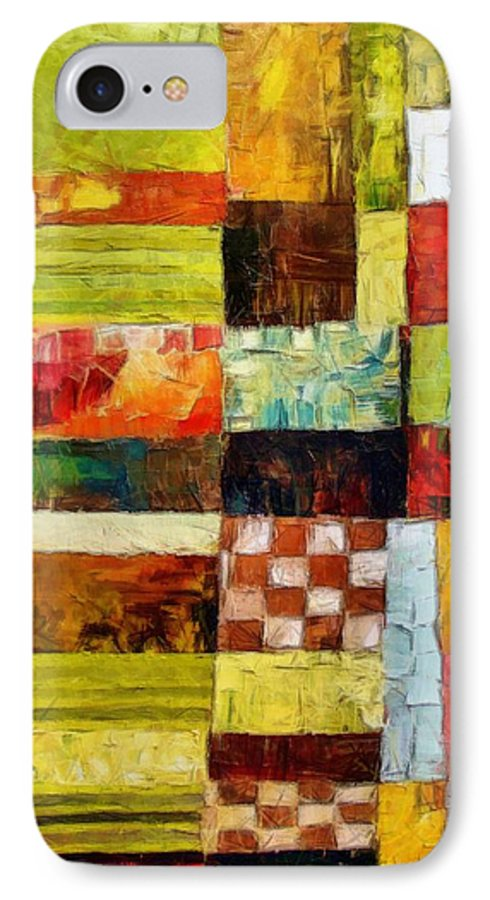 Patchwork IPhone 7 Case featuring the painting Abstract Color Study With Checkerboard And Stripes by Michelle Calkins