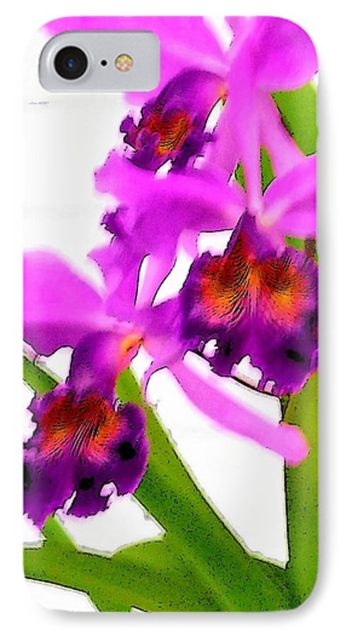 Flowers IPhone 7 Case featuring the digital art Abstract Iris by Anita Burgermeister