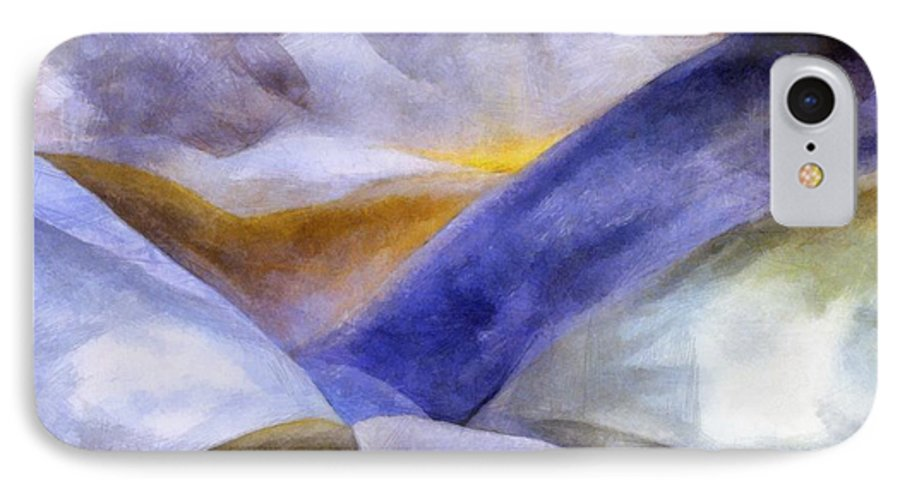 Blue IPhone 7 Case featuring the painting Abstract Mountain Landscape by Michelle Calkins