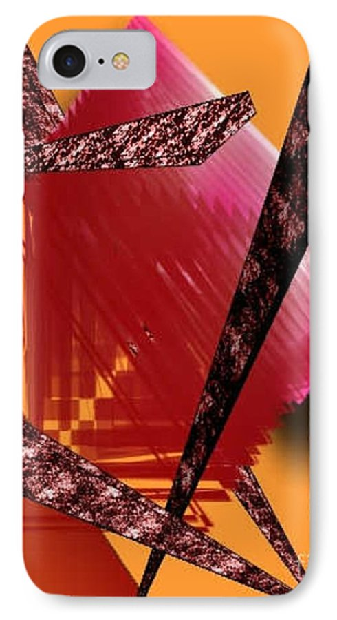 Abstracts IPhone 7 Case featuring the digital art Abstract-n-gold by Brenda L Spencer