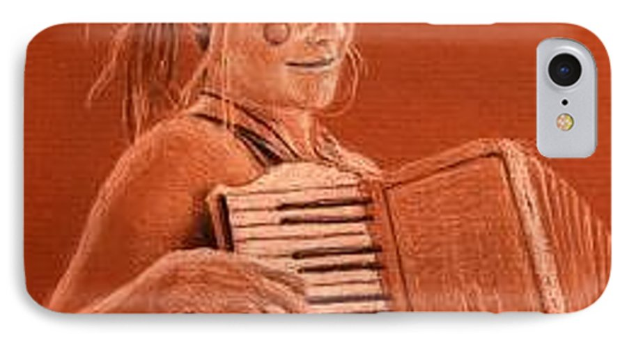 Accordion IPhone 7 Case featuring the drawing Accordion Girl by Michael Beckett