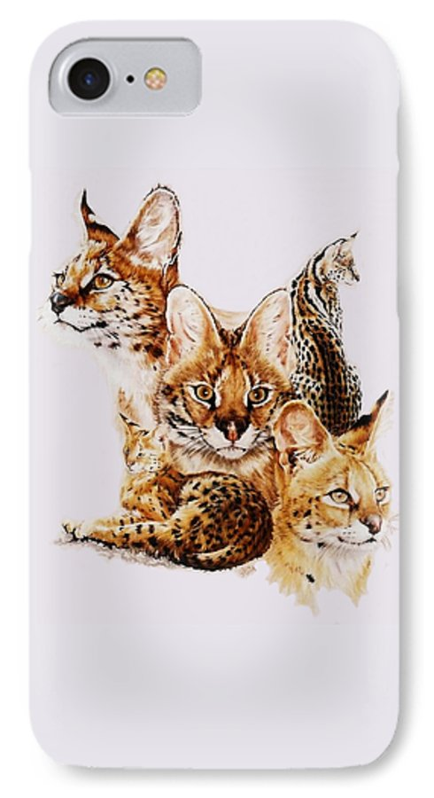 Serval IPhone 7 Case featuring the drawing Adroit by Barbara Keith
