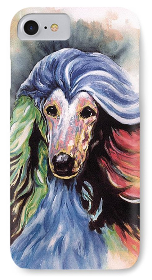 Afghan Hound IPhone 7 Case featuring the painting Afghan Storm by Kathleen Sepulveda