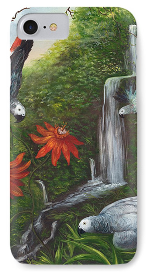 Landscape IPhone 7 Case featuring the painting African Grays by Anne Kushnick