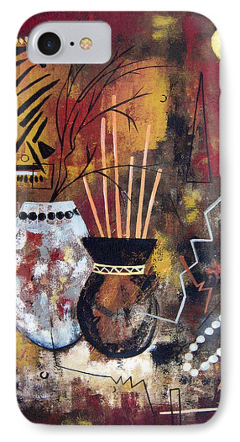 Abstract IPhone 7 Case featuring the painting African Perspective by Ruth Palmer