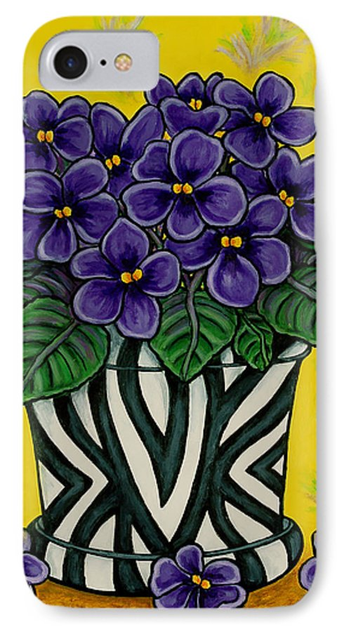 Violets IPhone 7 Case featuring the painting African Queen by Lisa Lorenz