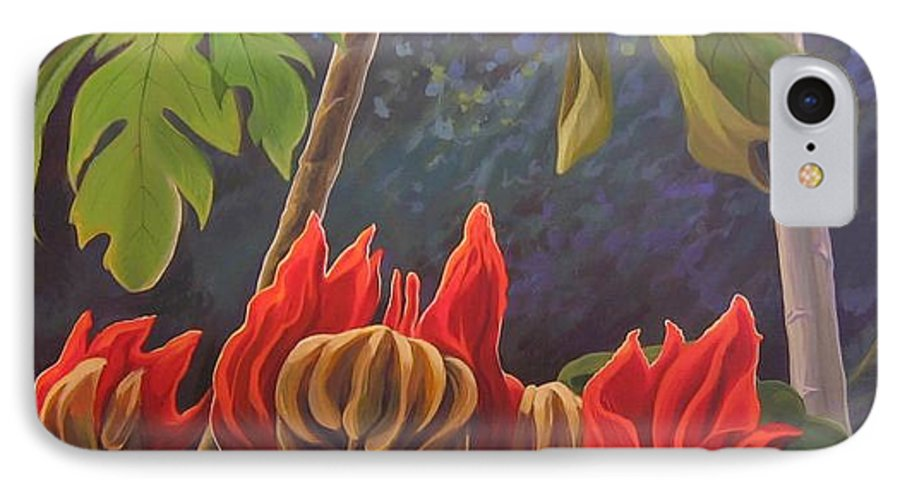 African Tulip IPhone 7 Case featuring the painting African Tulip by Hunter Jay