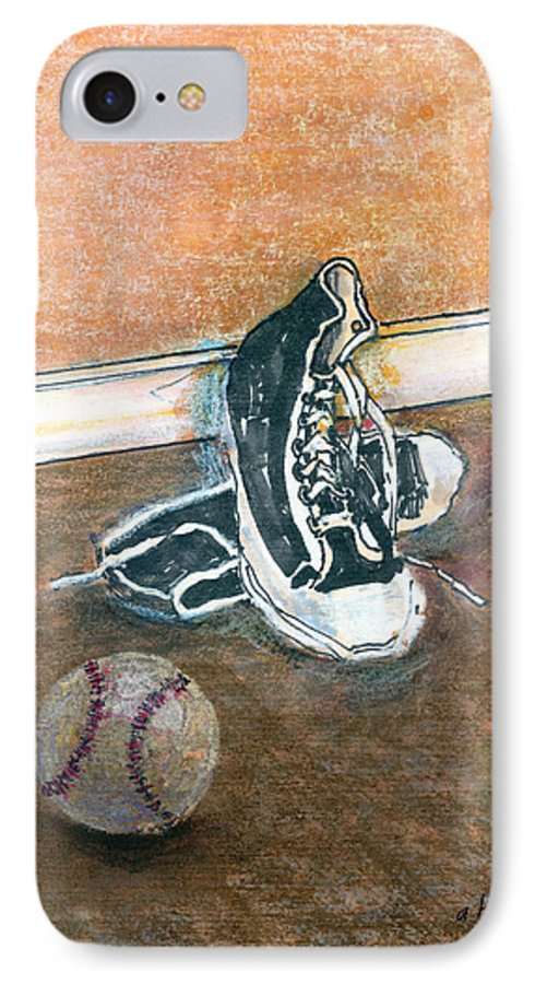 Tennis Shoes IPhone 7 Case featuring the mixed media After The Game by Arline Wagner