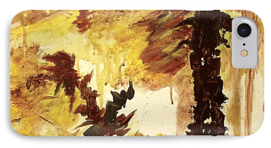 Abstract IPhone 7 Case featuring the painting Age Of The Fall by Itaya Lightbourne
