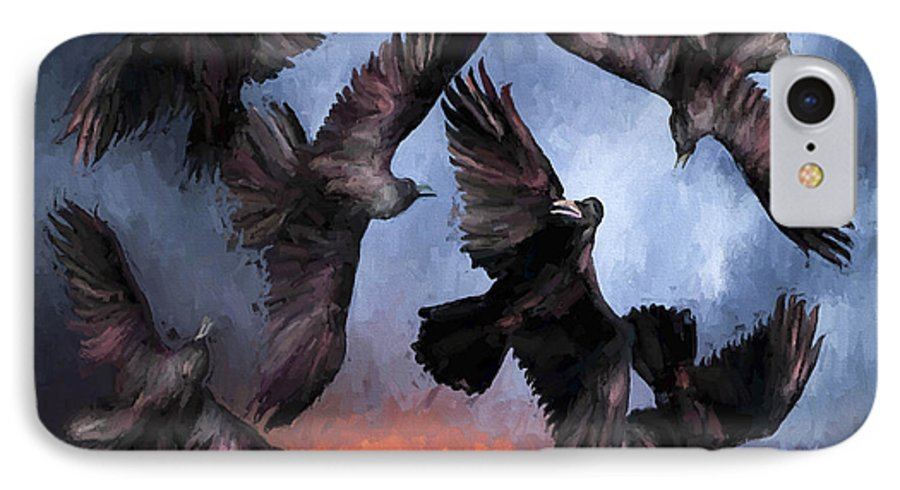 Fine Art IPhone 7 Case featuring the painting Airborne Unkindness by David Wagner