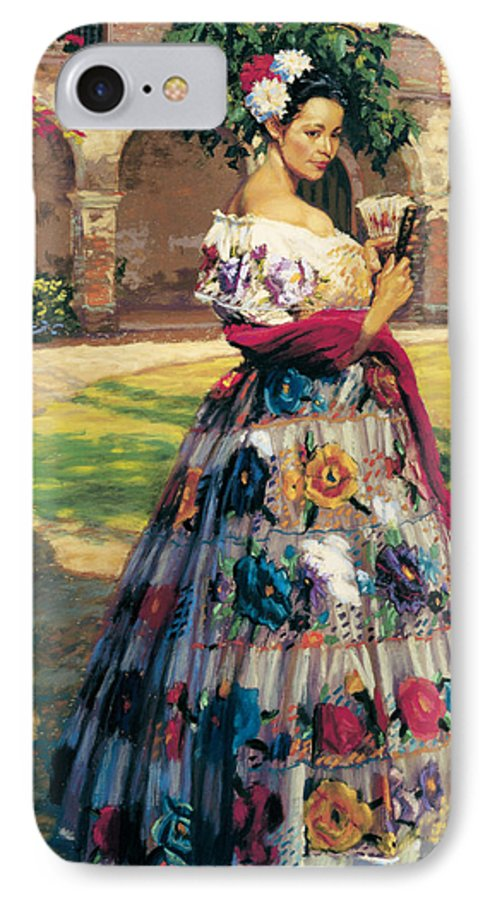 Woman Elaborately Embroidered Mexican Dress. Background Mission San Juan Capistrano. IPhone 7 Case featuring the painting Al Aire Libre by Jean Hildebrant