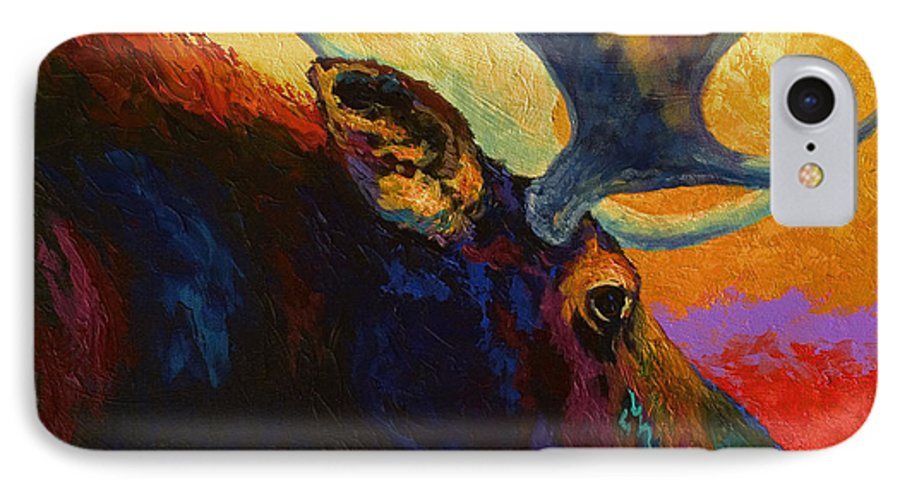 Moose IPhone 7 Case featuring the painting Alaskan Spirit - Moose by Marion Rose
