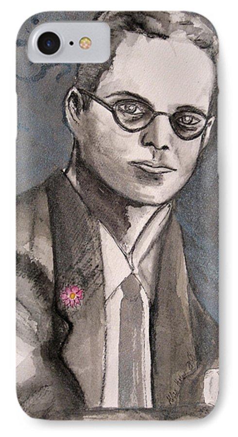Aldous Brave Darkestartist Huxley New Painting Portrait Watercolor Watercolour World IPhone 7 Case featuring the painting Aldous Huxley by Darkest Artist