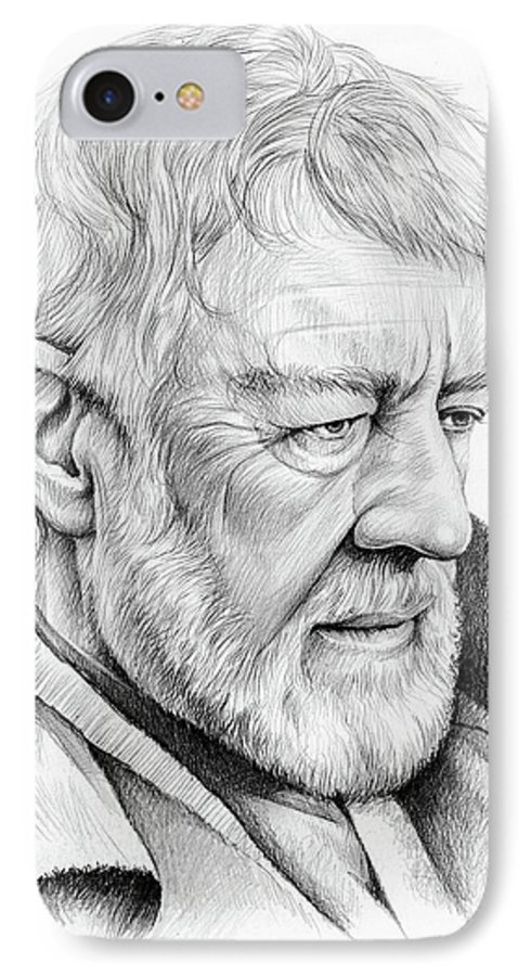 Alec Guiness IPhone 7 Case featuring the drawing Alec Guinness by Greg Joens