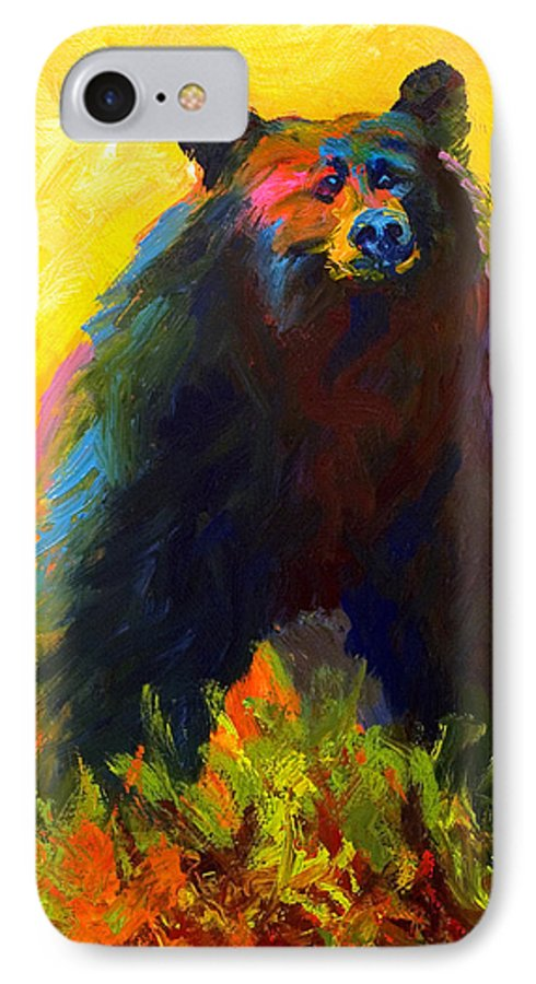 Western IPhone 7 Case featuring the painting Alert - Black Bear by Marion Rose