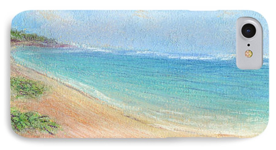 Rainbow Colors Pastel IPhone 7 Case featuring the painting Aliomanu Beach by Kenneth Grzesik
