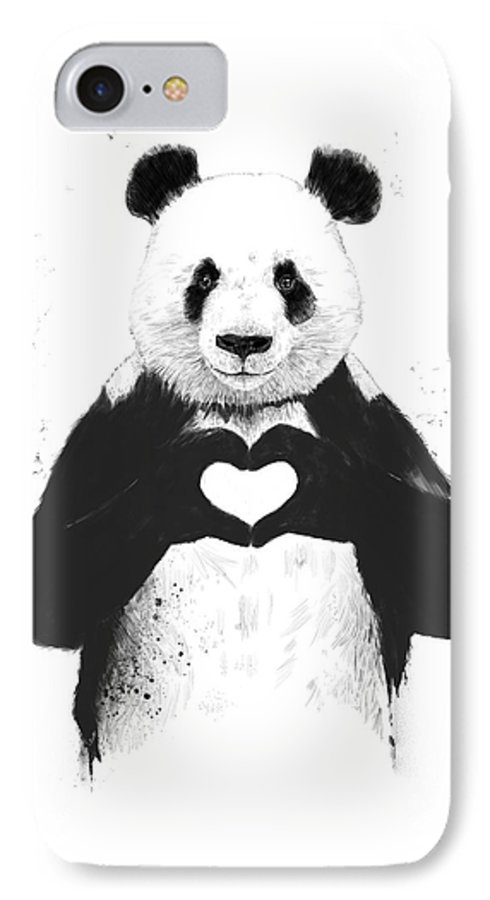 Panda IPhone 7 Case featuring the painting All you need is love by Balazs Solti