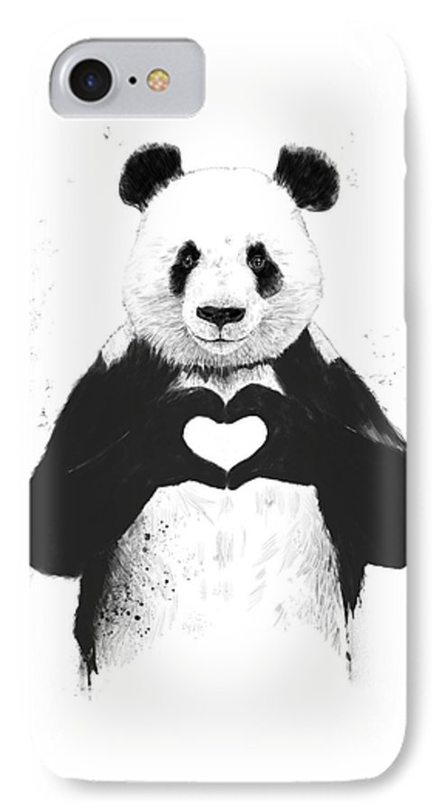 Panda IPhone 7 Case featuring the mixed media All You Need Is Love by Balazs Solti