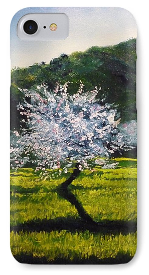 Almond Tree IPhone 7 Case featuring the painting Almond Tree In Blossom by Lizzy Forrester
