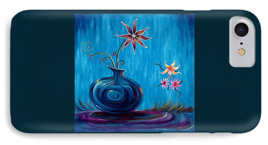 Fantasy Floral Scape IPhone 7 Case featuring the painting Aloha Rain by Jennifer McDuffie