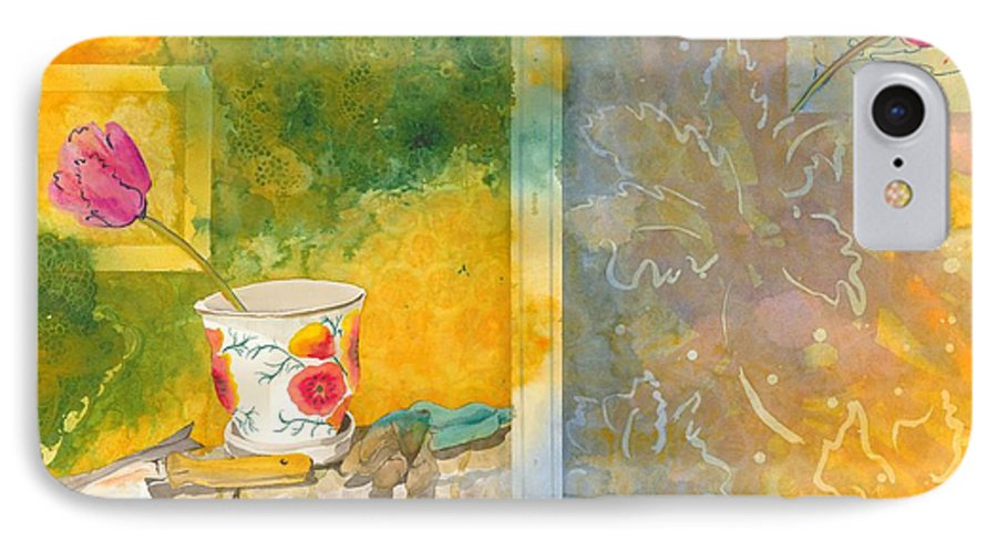 Garden IPhone 7 Case featuring the painting Along The Garden Wall by Jean Blackmer