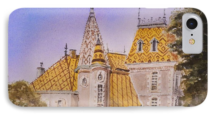 Vineyard IPhone 7 Case featuring the painting Aloxe Corton Chateau Jaune by Mary Ellen Mueller Legault